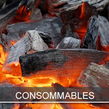 charbons de bois, sarments et cepes de vigne